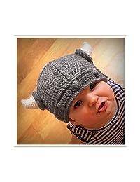 Meiyiu New Baby Kids Bonnet Newborn Handmade Crochet Hat Viking Horns Knitted Hat