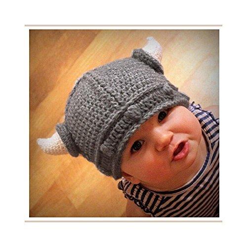 New Baby Kids Bonnet Newborn Handmade Crochet Hat Viking Horns Knitted Hat (Viking Outfit)