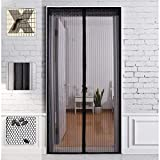 Magnet Fly Screen Door Insect Screen 100 x 200 CM, Magnetic Curtain Ideal for Balcony Door, Living Room, Cellar Door, Patio Door, Easy Adhesive Mounting without Drilling (Black)