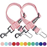 Blueberry Pet 12 Colors Pack of 2 Classic Dog Seat Belt Tether for Dogs Cats, Baby Pink, Durable Safety Car Vehicle Seatbelts Leads Use with Harness