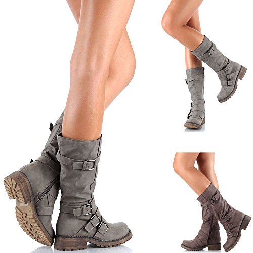 Rainlin Women's Mid-Calf Boots Suede Buckles Riding Boots Size 7.5 Grey by Rainlin (Image #6)