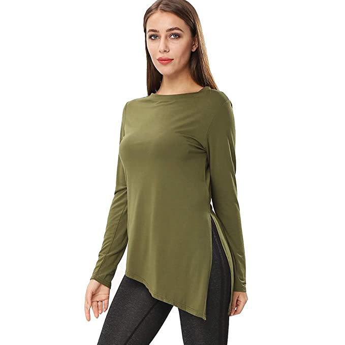 7674c5c81be683 ENIDMIL Womens Cotton Tunic Tops for Leggings Side Split Crewneck Long  Sleeve Tunic Shirt (Army