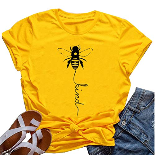 Bee Womens T-shirt - YourTops Women Bee Kind T-Shirt Graphic Shirt (US L, 1-Yellow)