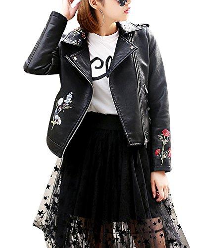 Femme Retro Pu Cuir Veste Avec Broderie Biker Moto Zipper Faux Cuir Manteau Blouson Noir