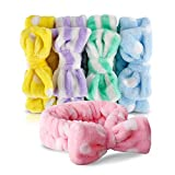 Bow HeadBands, Teenitor Women Headbands for Makeup Cosmetic Facial Shower Spa Elastic Hair Band Hairlace Headband for Baby girls Yellow Blue Green Purple Pink, 5pcs