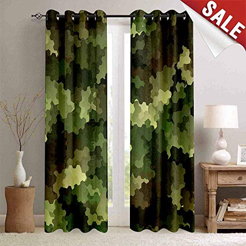 Miki Da Professional Custom Curtain, Camo, Frosted Glass Effect Hexagonal Abstract Being Invisible Woodland Print, Green Pale Green and Brown, W84 xL84, 2 Panels with Grommet Top