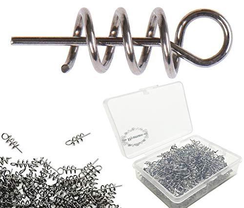 (Hyamass 200pcs Soft Lure Bait Spring Twist Lock Outdoor Fishing Crank Hook Centering Pin for Soft Lure Bait Worm Crank )