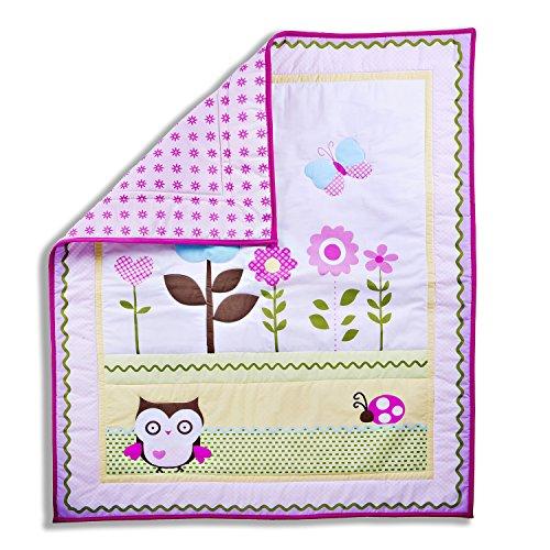 Dream On Me Baby Owl 2 Piece Playard Set, Pink/White
