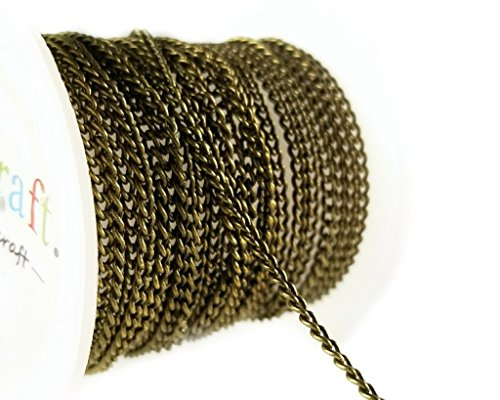 Antique Lead Brass (10ft (3.1m) Thin Antique Brass Bronze Curb Chain Spool- Hypoallergenic Nickel Free- (1.8 x 2.5) 2mm)