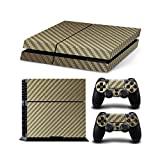 Cheap Gam3Gear Vinyl Sticker Pattern Decals Skin for PS4 Console & Controller- Gold Carbon Fiber