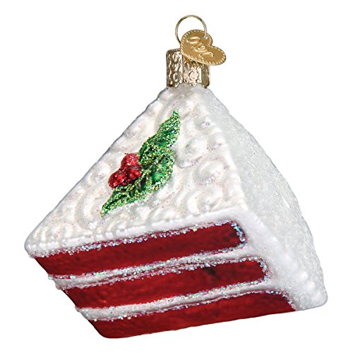 Old World Christmas Glass Blown Ornament with S-Hook and Gift Box, Sweets Collection (Red Velvet Cake) (Velvet Red Collection)