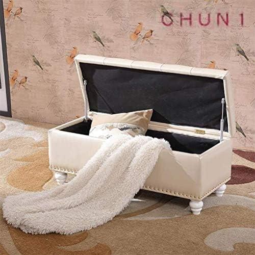 Stockage Repose-pieds, pliant rembourré avec couvercle PU capitonné Cadre en bois en cuir for le salon Bedroom125 1125 (Color : 4, Size : 60cm)