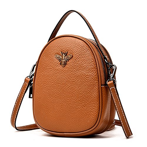 Toniker Genuine Leather Small Crossbody Bag Multi-Pockets Bee Series Cell Phone Purse Wallet for Women from Toniker
