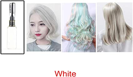 clifcragrocl tinte pelo,15ml Colorante no t¨®xico temporal Tinte para el cabello Unisex Cosplay DIY Salon Hair Mascara - Blanco