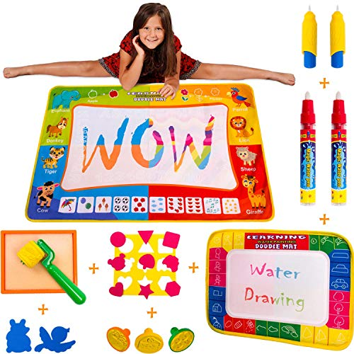 Wow Four Design Updated 2019 Version AquaDoodle Mat - Aqua Magic Mat - Water mat - Educational Travel Toys Gifts for Age 2 3 4 5 6 Year Old (Best Girls Toys 2019)
