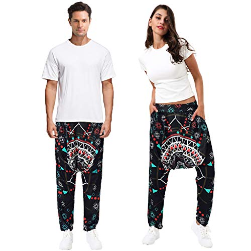 JOFOW Unisex Harem Pants Totem Geometric Dots Pattern Print Aladdin Saggy Trousers Loose Comfy Pajamas Bottom Funny Costume (M,Black) ()