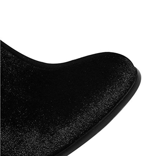 Stivali QPYC Velluto stivaletti tacco Donna tacco cerniera Martin tacco Stivali alto laterali tondo black tacco Uw0XrUq