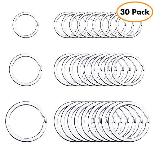 Flat Key Rings Key Chain Metal Split Ring 30pcs (Round 3/4 Inch, 1 Inch and 1.25 Inch Diameter), for Home Car Keys Organization, Lead Free Nickel Plated Silver ()