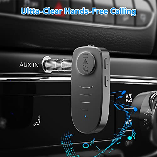 Bluetooth Audio Receiver, Phepten Bluetooth Aux Receiver for Car & Home Stereo/Wired Headphones, Noise Cancelling for Clear Sound, 16H Battery Life(Black)