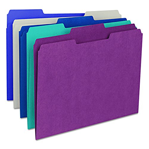 Smead File Folder, 1/3-Cut Tab, Letter Size, Assorted Colors, 100 per Box, (11948) (File Folder Letter 1/3 Tab)