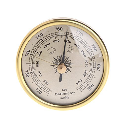 (Yuayan 72mm Wall Hanging Barometer 1070hPa Gold Color Round Dial Air Weather Station)