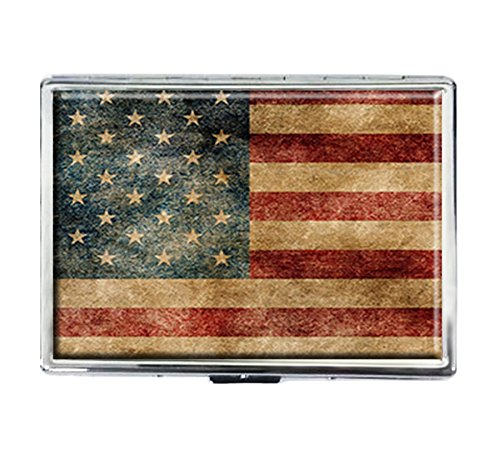American Flag Old Flag Design Stainless Steel ID Cigarettes Case Holder Stylish Credit Card ()