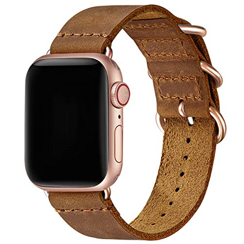Vintage Leather Bands Compatible with Apple Watch band 38mm 40mm 42mm 44mm,Genuine Leather Retro Strap Compatible for Men Women iWatch Series5 Series 4/3/2/1(Light Brown+Rose Gold Connector,42mm 44mm)