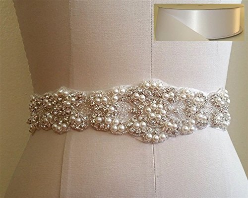 TRLYC Ivory Sash Handmade Wedding Dress Bridal Sash Belt Appliques Rhinestone Satin Crystal= 21″ Long