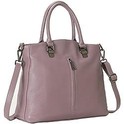 Kenoor Women's Handbags Leather Tote Shoulder Bags Satchel Purses on Clearance (Lilac)