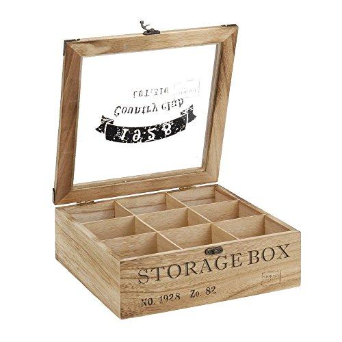 ToCi–Caja para te de madera en estilo rustico con 6o 9compartimentos Modell 2
