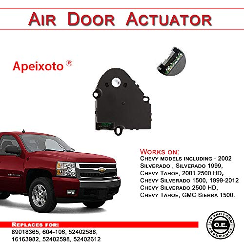 Blend Door Actuator replaces 89018365, 52402588, 15-72971, 604-106 for  Chevy Silverado 1500 Silverado 2500 HD Tahoe, GMC Sierra 1500 99 00 01 02  03 04