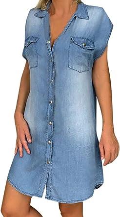 Vestido de Manga Corta para Mujer Camisa Vaquera Vestidos ...