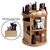 MobileVision Bamboo Make Up & Bathroom Rotating Organizer Tower for Cosmetics w/Adjustable Shelves Plus Caddy for Brushes, lotions, Nail Polish, Skin Care & More