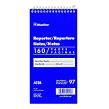 Blueline Reporter Note Pad Spiral Binding with Flexible Blue Cover 160 Pages 4-Inch x 8-Inch AT8B