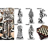 Metal Celtic Chess Set Pieces (with wooden board box included)