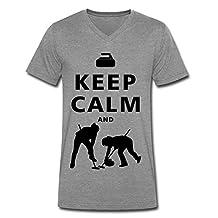 SHHY Men's Keep Calm Do Curling V Neck T-shirt DeepHeather