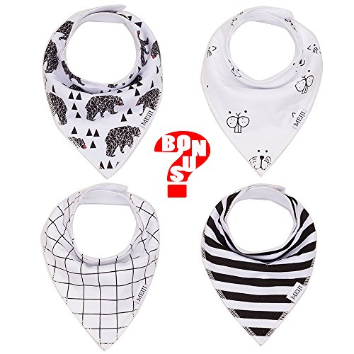 Baby Bandana Drool Bibs 4-pack Gift Set for Drooling and Teething 100% Organic Cotton Soft Super Absorbent with Snaps for Girl Boy Unisex (Mj Outfits)
