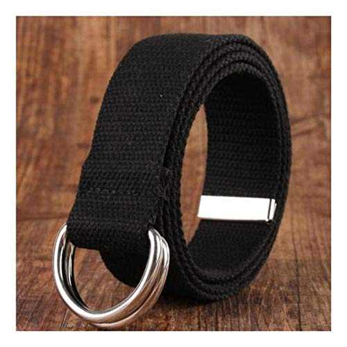 FidgetFidget Cinturón de lona con doble anillo D hebilla de metal moda cintura para hombre y mujer, Negro, General Size