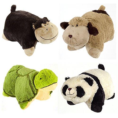 Set of 4 Pillow Pets Pee-Wees Stuffed Animal Plush Kids Bedtime Nap Toys Mini