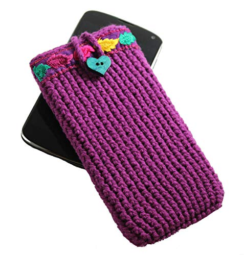 Purple mobile phone case boho style for woman