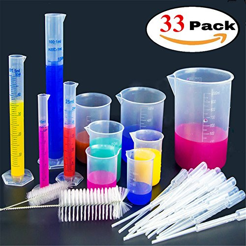 Z-Liant Bunsen beaker Graduated Cylinder Set : 4 Pieces Graduated Cylinders 10 25 50 100 ml, 7 Pieces Beakers 25 50 100 150 250 500 1000ml,20 Pieces 3ml Disposable Droppers and 2 Pieces Brush