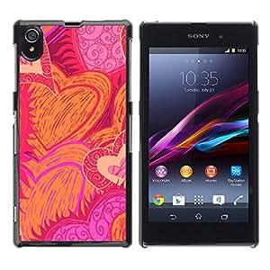 FlareStar Colour Printing Heart Hand Drawn Sun Flames Love Pink cáscara Funda Case Caso de plástico para Sony Xperia Z1 L39 C6902 C6903 C6906 C6916 C6943
