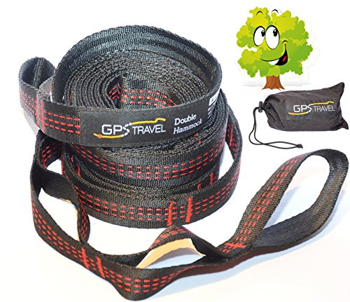 Double Hammock Tree Straps: Lightweight, Quick and Easy. Non-Stretch Material. Super-Strong Hammock Straps. Smart...