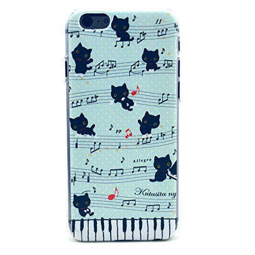 iPhone 6 Case, iPhone 6 (4.7 Inch) Case - LUOLNH Fashion Style Colorful Painted Sheet Music And A Black Cat Clear Bumper Hard Case Back Cover Protector Skin For iPhone 6 4.7Inch (Sheet Music And A Black Cat)