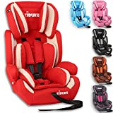 KIDUKU Safety Car Seat | Booster Seat | 3 in 1 Childs Babys from 9-36 kg (20 lbs - 80 lbs) 1-12 Years | Convertible, universal | approved to ECE R44/04 | Group 1 + 2 + 3 | red/white