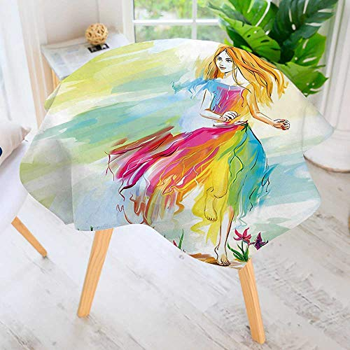 UHOO2018 Round Tablecloths-Barefoot Woman in Chiffon Dress Runs on Field Spring Flower in Watercolors Multicolor Waterproof Oilproof Hotproof Table Cloth Table Multiple Styles 59