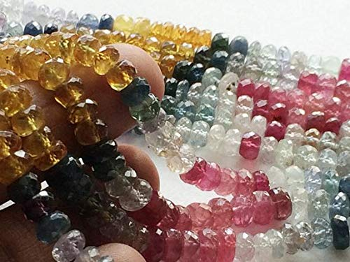 KALISA GEMS Beads Gemstone 1 Strand Natural Multi Sapphire Faceted Rondelles, Multi Sapphire Necklace, 5.5-6mm, 8 Inch