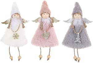 Yesland 3 Pcs Angel Doll Pendant Tree Hanging Ornaments - Plush Christmas Doll Hanging Angel/Crafts Elves Decorations for Tree Door Wall Hanging in Home, Holiday, Party and Garden Decor