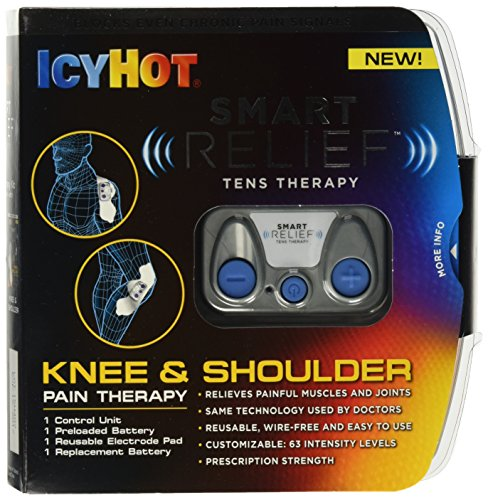 Icy Hot Smart Relief TENS Therapy, Knee and Shoulder Starter Kit, Includes Portable Wire-Free TENS Unit, Battery, Reusable Electrode Pad for Hips and Back, TENS Therapy Help with Chronic Pain