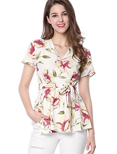 Allegra K Women's Floral Print Self-tie Waist Wrap Peplum Top S ()
